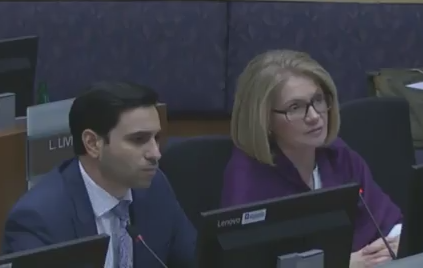 London North Centre Liberal MP Peter Fragiskatos and London West Liberal MP Kate Young address the corporate services committee during their semi-annual meeting Nov. 15, 2017.