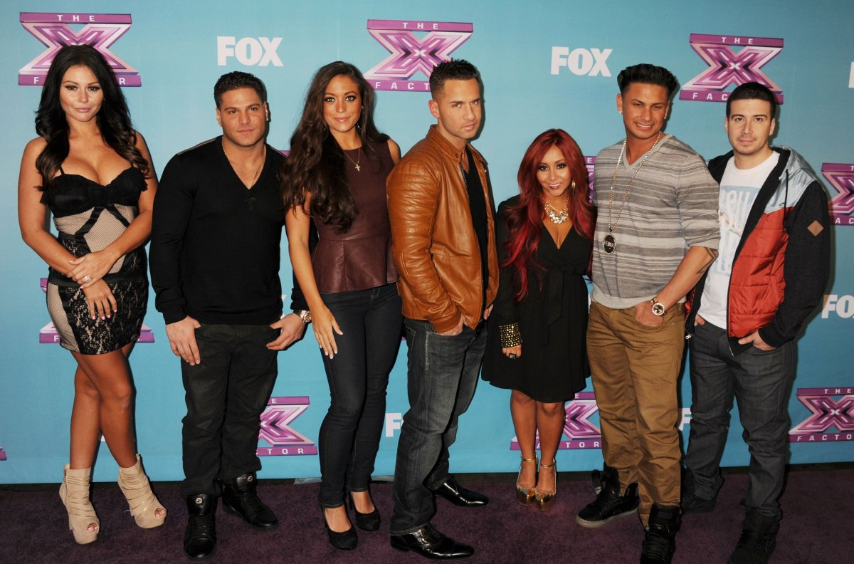 Jersey Shore cast, Jenni 'Jwoww' Farley, Ronnie Ortiz-Magro, Sammi 'Sweetheart' Giancola, Mike 'The Situation' Sorrentino, Nicole 'Snooki' Polizzi, Paul 'Pauly D' DelVecchio and Vinny Guadagnino arrives at Fox's 'The X Factor' Season Finale Night 1 at CBS Television City at CBS Studios on December 19, 2012 in Los Angeles, California.