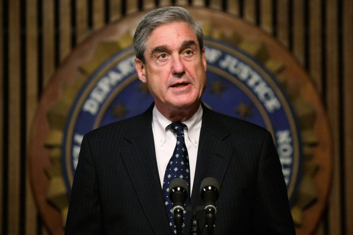 FBI Director Robert Mueller speaks during a news conference at the FBI headquarters.