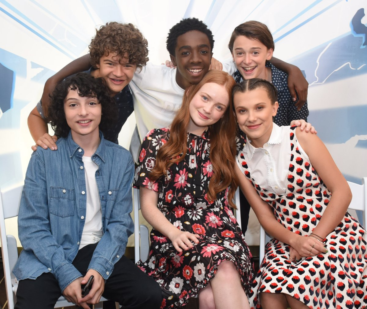 Gaten Matarazzo, Caleb McLaughlin, Noah Schnapp, Finn Wolfhard, Sadie Sink and Millie Bobby Brown attend SiriusXM's Entertainment Weekly Radio Channel Broadcasts From Comic Con 2017 at Hard Rock Hotel San Diego on July 22, 2017 in San Diego, California.