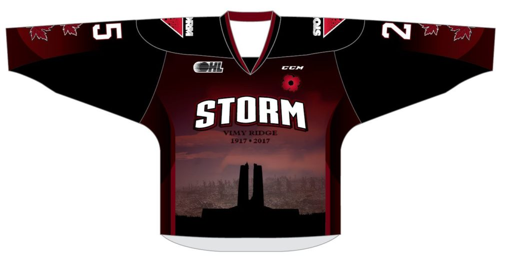 The Guelph Storm will wear commemorative jerseys honouring Vimy Ridge during Friday's game against the North Bay Battalion.