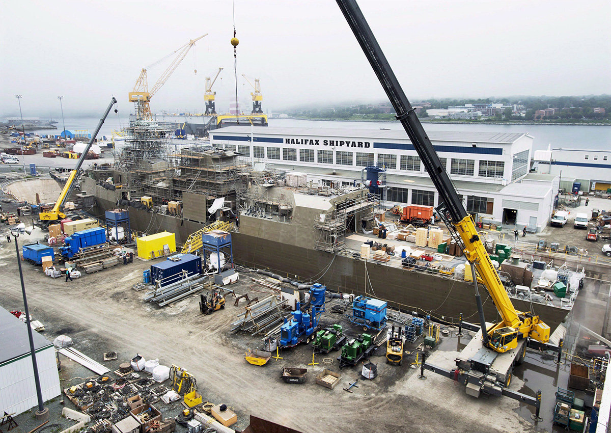 HMCS St. John's, one of Canada's Halifax-class frigates, undergoes a mid-life refit at the Irving Shipbuilding facility in Halifax on Thursday, July 3, 2014.