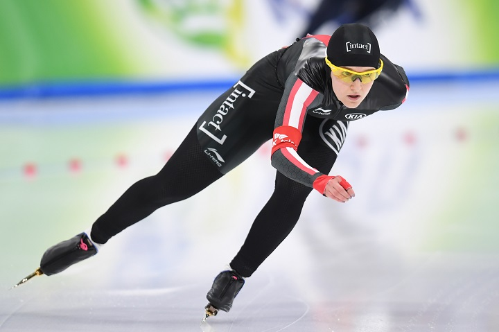 Heather Mclean of Winnipeg competes in the women's 1000m race during the ISU World Single Distances Speed Skating Championships on Feb 11, 2017 in Gangneung, South Korea.