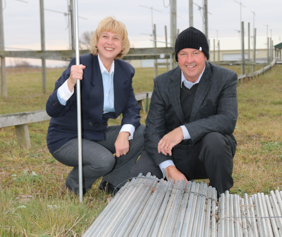Pictured here with antenna elements at the radar array north of London: researchers Anna Hocking, a Western University alumna and PhD, and Prof. Wayne Hocking, who leads the Atmospheric Dynamics Group based at Western's Department of Physics and Astronomy.