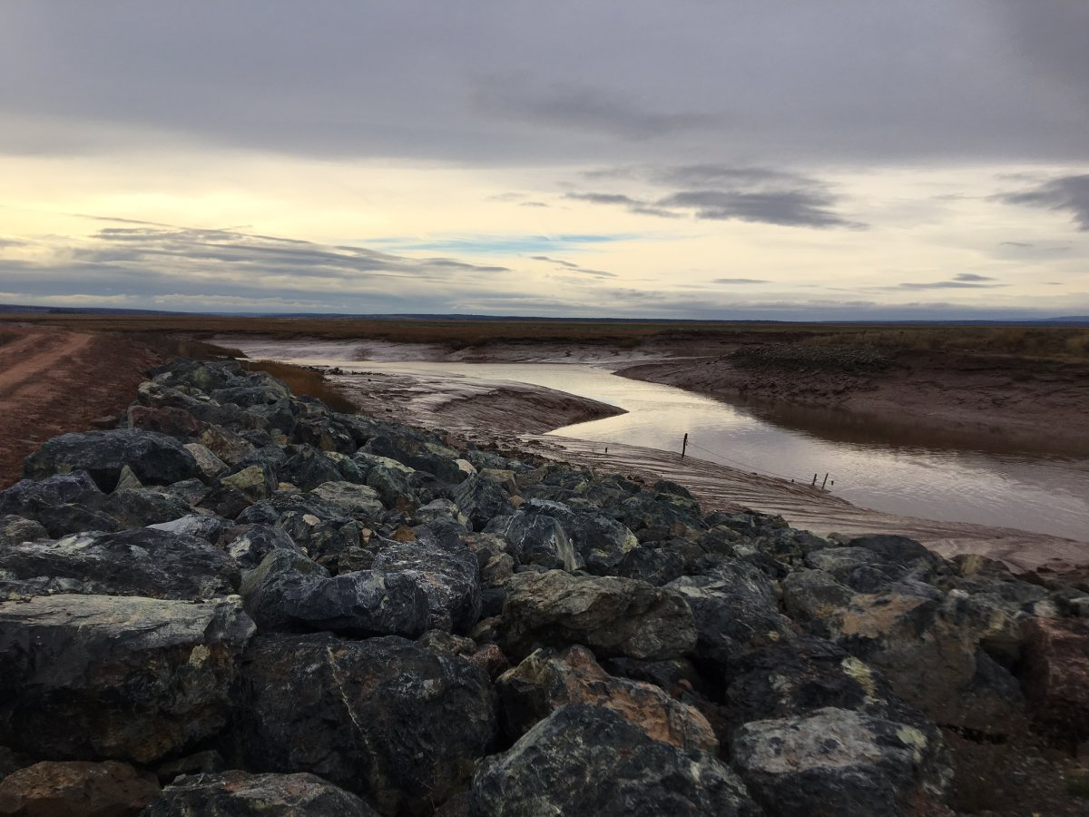 Amherst, N.S., Mayor David Kogon says sea levels are projected to rise in the Bay of Fundy over 15 to 20 years to the point where the Isthmus of Chignecto will flood, even without a storm surge.