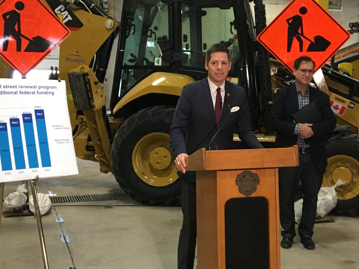Winnipeg Mayor Brian Bowman speaks following the release of the city's list of roads it aims to repair in 2018.