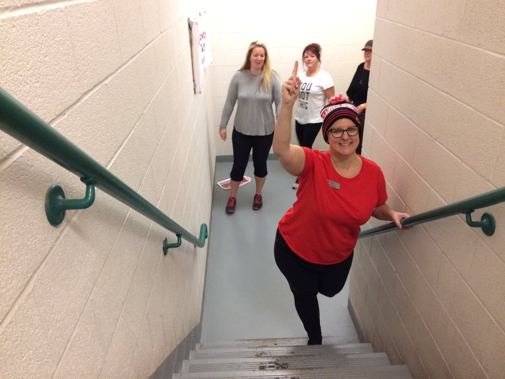 United Way Elgin Middlesex CEO Kelly Ziegner poses in the One London Place stairwell during the 2017 fundraising event.