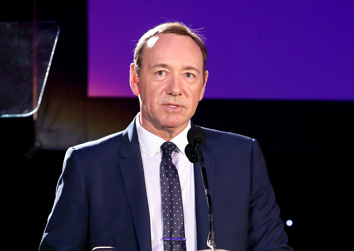"""Honoree Kevin Spacey speaks onstage during the 4th Annual """"Reel Stories, Real Lives"""", benefiting the Motion Picture & Television Fund at Milk Studios on April 25, 2015 in Hollywood, California."""