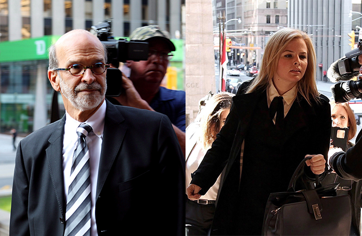 David Livingston (left), chief of staff to former Ontario premier Dalton McGuinty, and Laura Miller (right), former deputy chief of staff, arrive at court in Toronto on Friday, Sept. 22, 2017.