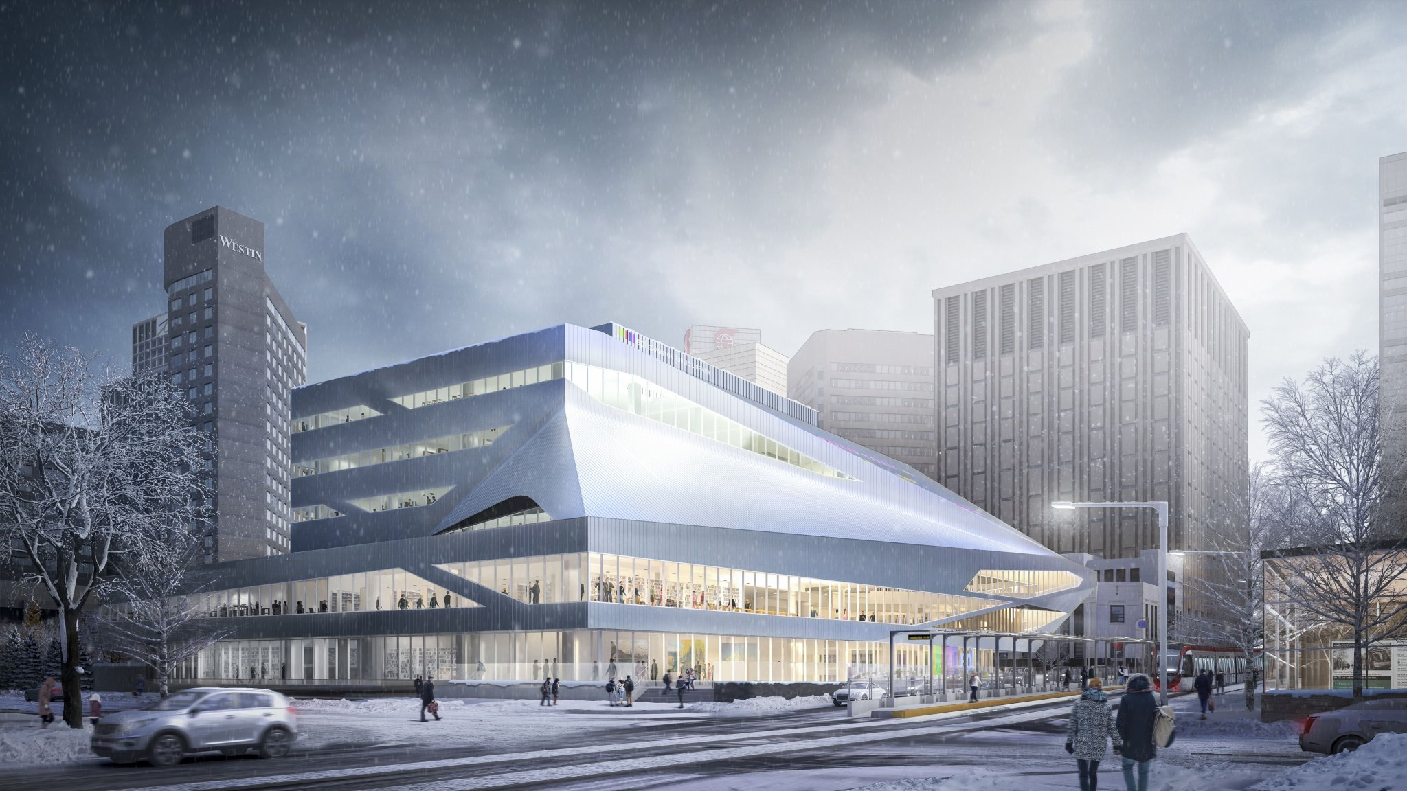 Depictions of Edmonton's new Stanley Milner Library renovation.