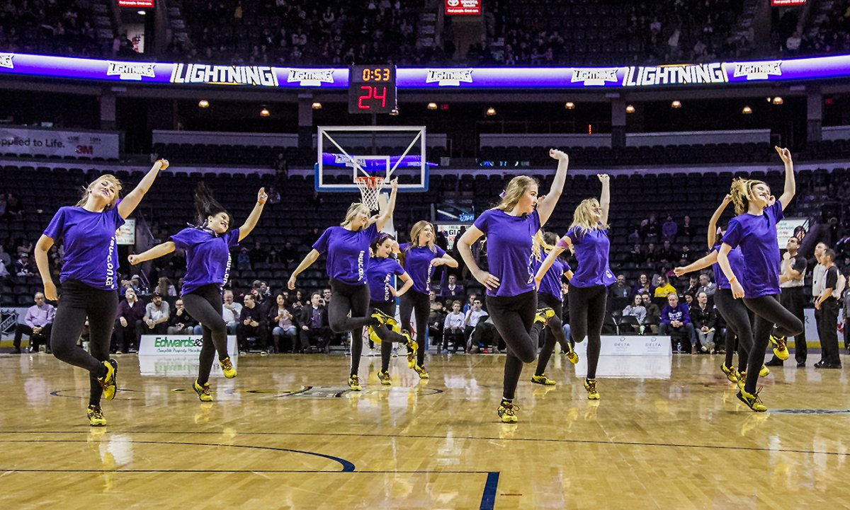 The London Lightning Dance Pack perform at the 2016 Shine the Light game.
