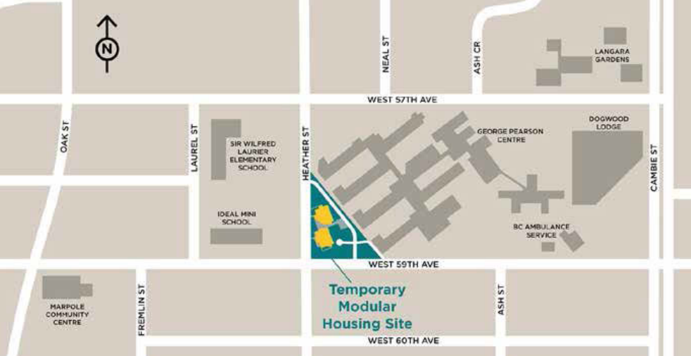 The location of a temporary modular housing project for the homeless in Marpole.