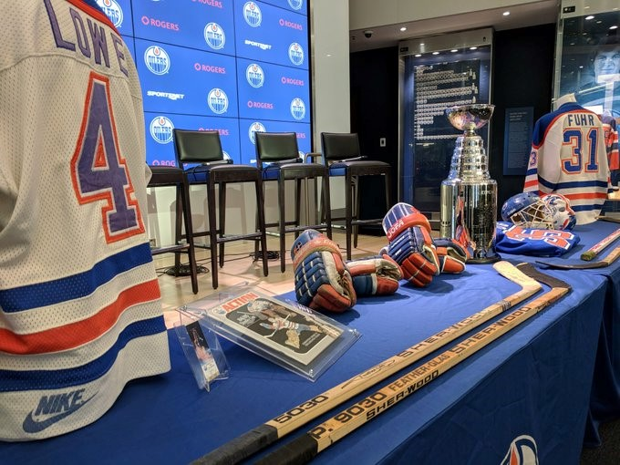 Memorabilia is displayed as the Edmonton Oilers celebrate the 1984-85 team being voted the best NHL team of all time.