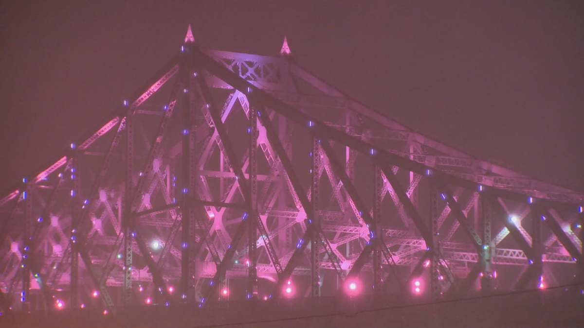 Montreal's Jacques-Cartier Bridge turned pink during the mayoral election, Sunday, November 5, 2017.