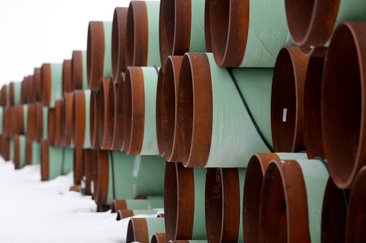 FILE PHOTO: A depot used to store pipes for Transcanada Corp's planned Keystone XL oil pipeline is seen in Gascoyne, North Dakota, January 25, 2017.