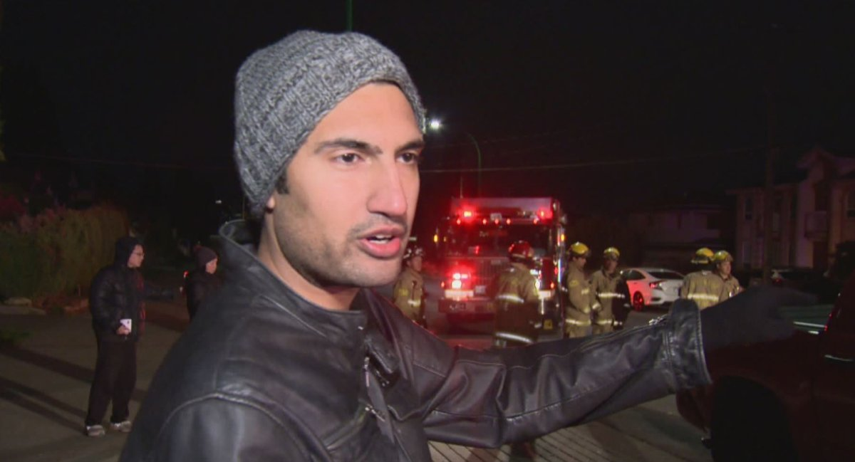Burnaby resident Jimmy Sharma rescued a woman involved in a car crash near his home early Sunday morning.