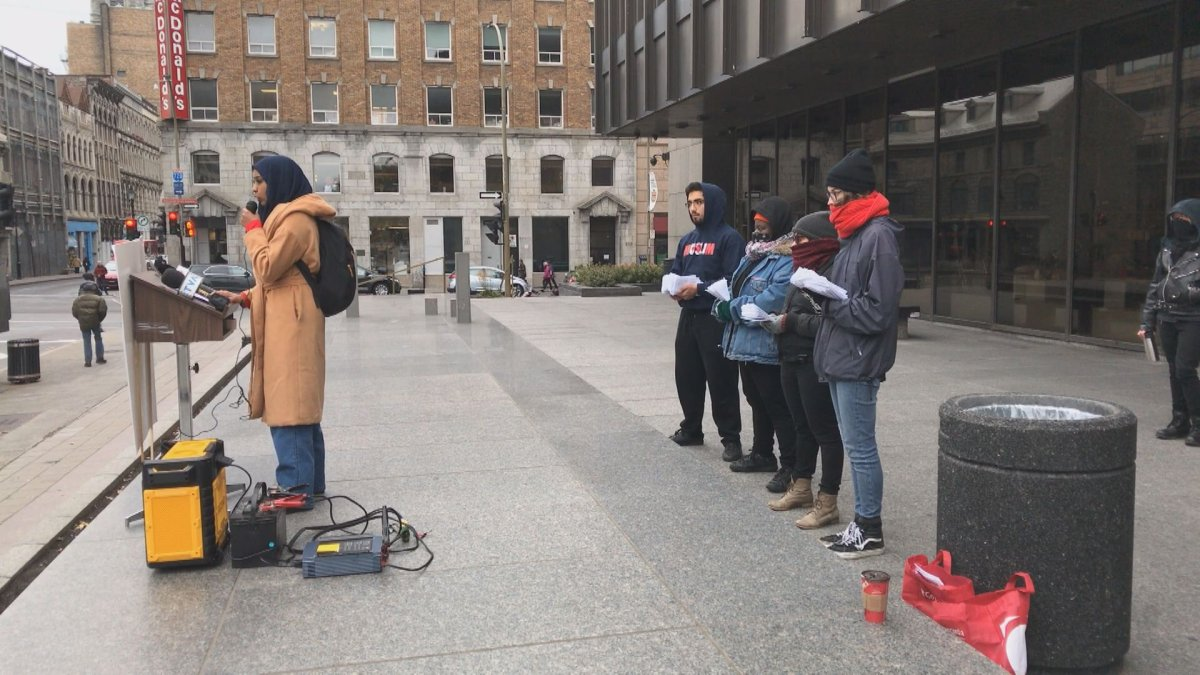 Concordia University students at the Montreal Courthouse on Wednesday, November 8, 2017.
