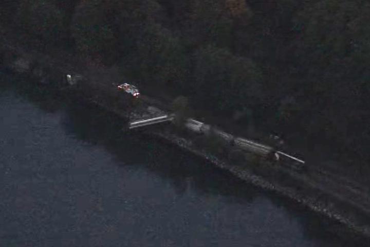 A grain train that derailed at Viterra Inc.'s Cascadia port terminal on Nov. 8, 2017.