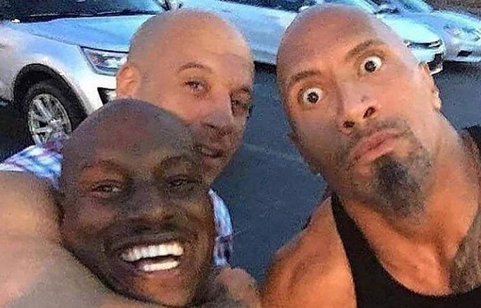 """(L-R): Tyrese Gibson, Vin Diesel and Dwayne """"The Rock"""" Johnson."""