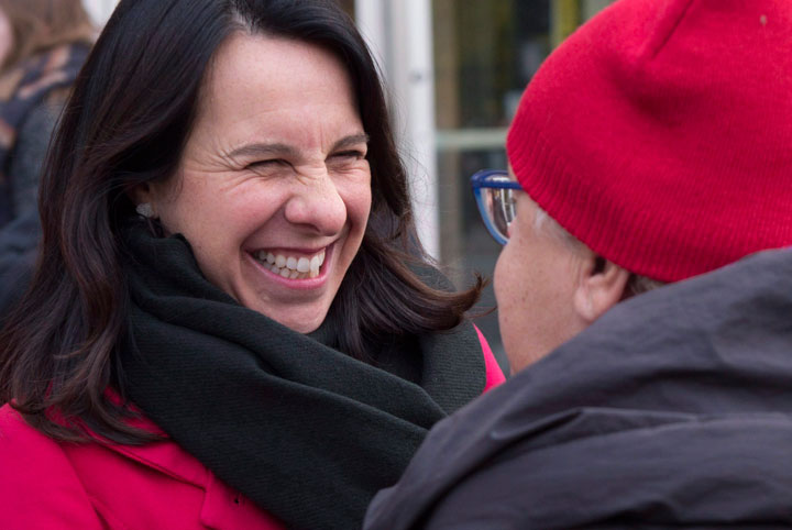 Montreal mayor candidate Valerie Plante chats with a passerby on Wednesday, November 1, 2017 in Montreal. Plante is one of the many women running for a municipal seat this election.
