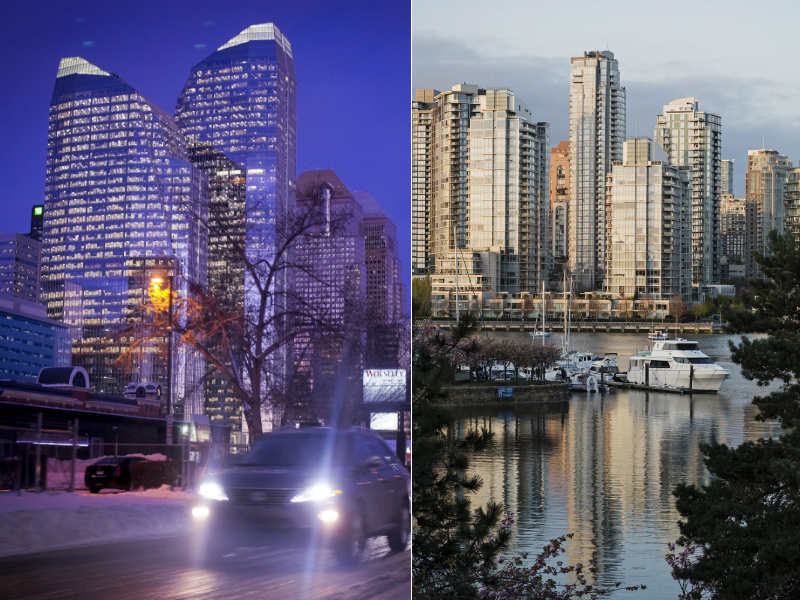 Calgary, at left. Vancouver, at right.