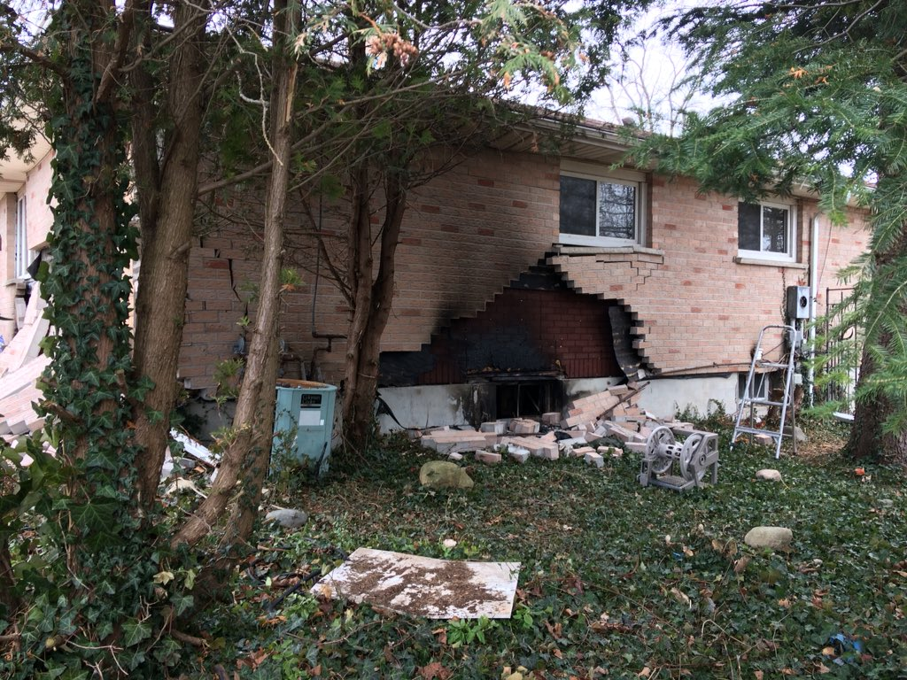 Damage at a home on Hamilton Rd, following an explosion and house fire.