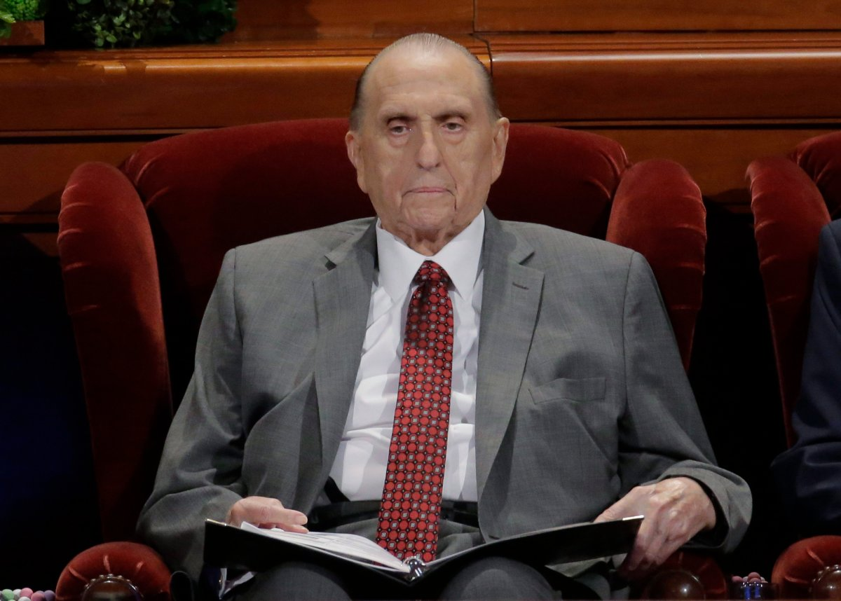 The Church of Jesus Christ of Latter-day Saints President Thomas S. Monson looks on during the morning session of the two-day Mormon church conference Saturday, April 1, 2017, in Salt Lake City.
