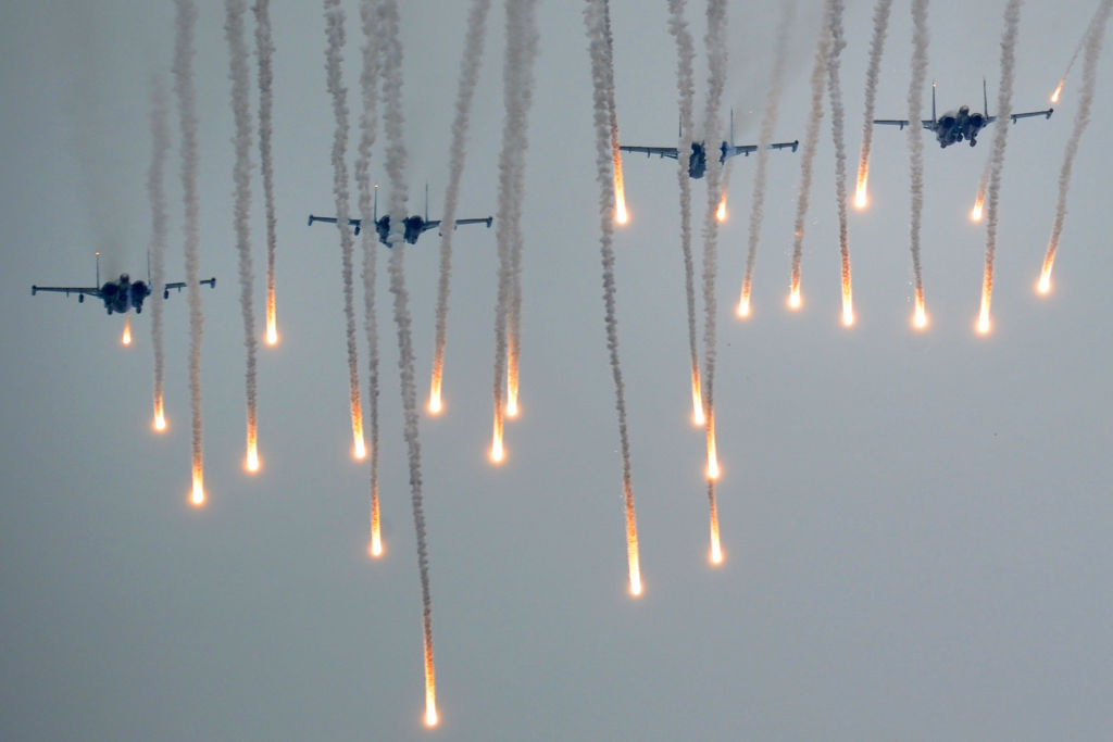 Military jets fly during the joint Russian-Belarusian military exercises Zapad-2017  at a training ground near the town of Borisov on September 20, 2017.