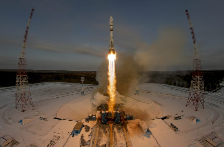 In this Tuesday, Nov. 28, 2017 file photo, a Russian Soyuz 2.1b rocket carrying the Meteor M satellite and additional 18 small satellites lifts off from the launch pad at the new Vostochny cosmodrome outside the city of Tsiolkovsky.