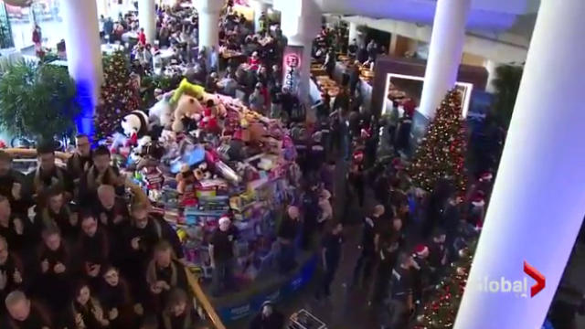 The mountain of donated toys and goods for the Pan Pacific Christmas Wish breakfast. This year we want to surpass these totals!.