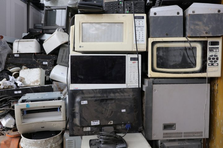 Electronic waste is seen at Comimtel Recycling workshop in Lima, Peru.