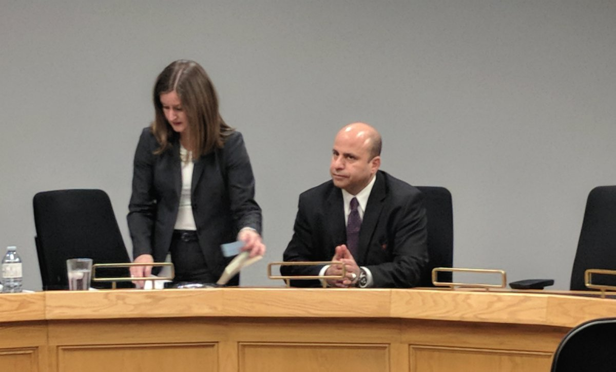 Michael Deeb, right, during a London Police Services Board meeting, Dec. 21, 2017.