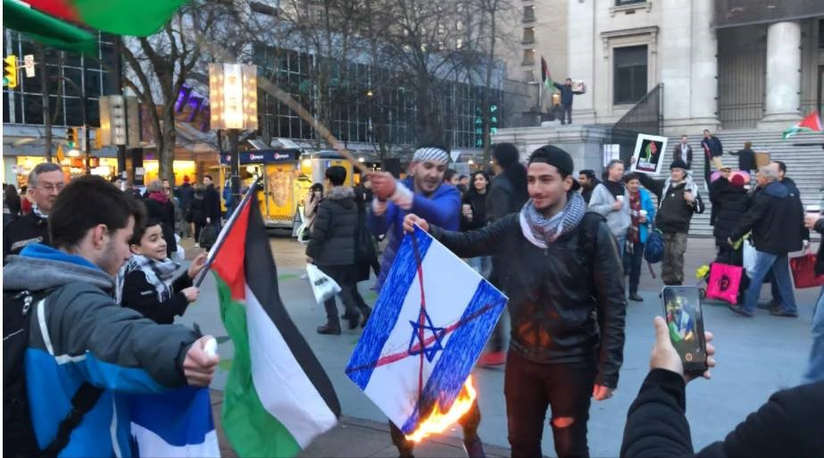 B'nai Brith Canada says it's upset after the flag of Israel was burned during a protest outside the Vancouver Art Gallery.