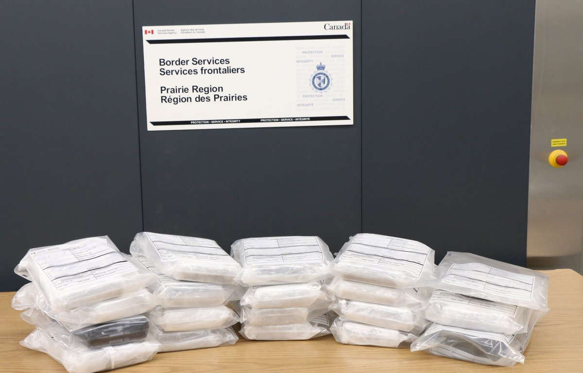 21 kg of suspected cocaine seized by CBSA officers in Coutts, Alta. on Dec. 17, 2017.