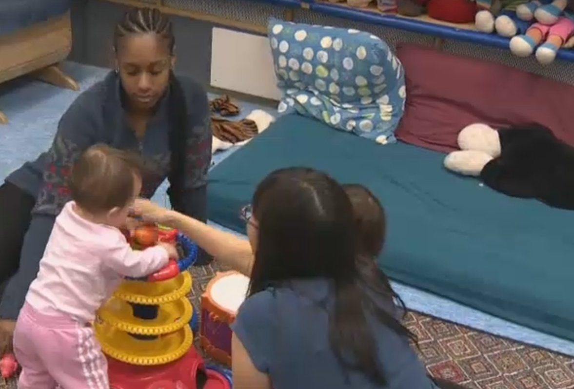 Kids playing at a daycare facility.