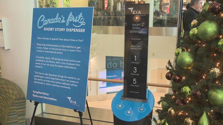 The Edmonton International Airport has unveiled a unique short story dispensing machine.