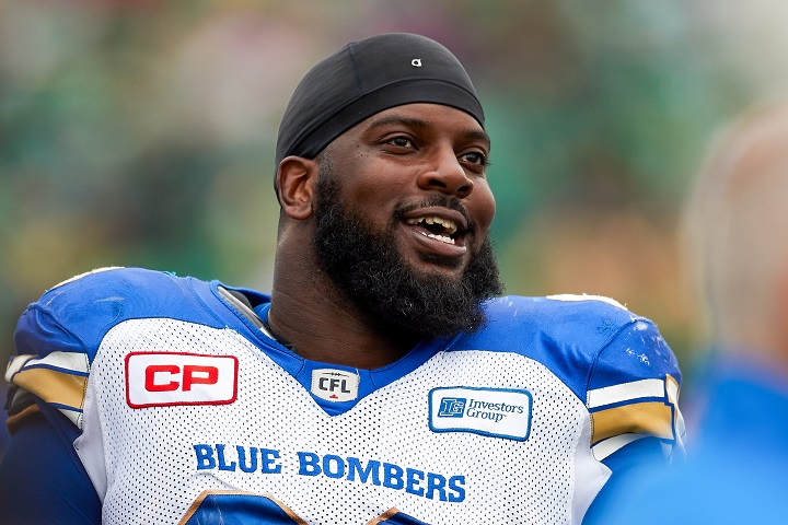 Stanley Bryant on the sideline during a CFL game between the Winnipeg Blue Bombers and Saskatchewan Roughriders at Mosaic Stadium on Sept. 4, 2016 in Regina.