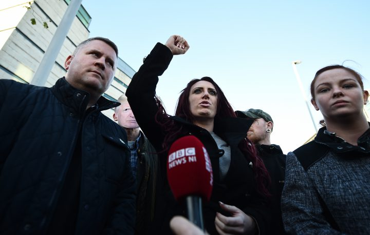 Britain First leader Paul Golding and deputy leader Jayda Fransen talk to the media outside Belfast Laganside Courts after Fransen was released on bail on Dec. 15, 2017 in Belfast, Northern Ireland.
