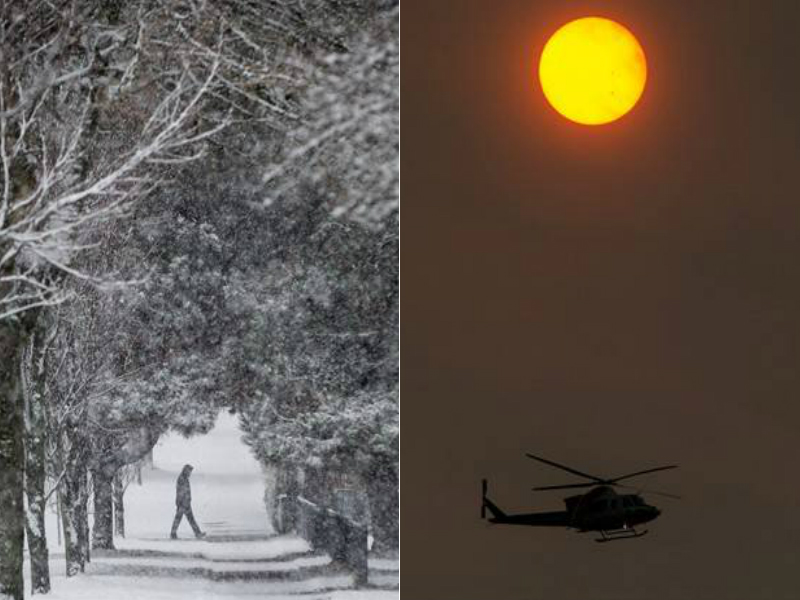 At left, a snowy street in Vancouver in December 2016. At right, the sun is obscured by smoke amid wildfires near Kelowna in September 2017.