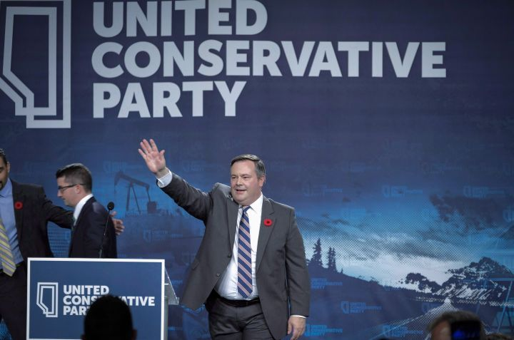 Jason Kenney celebrates his victory as the first official leader of the Alberta United Conservative Party in Calgary on October 28, 2017.