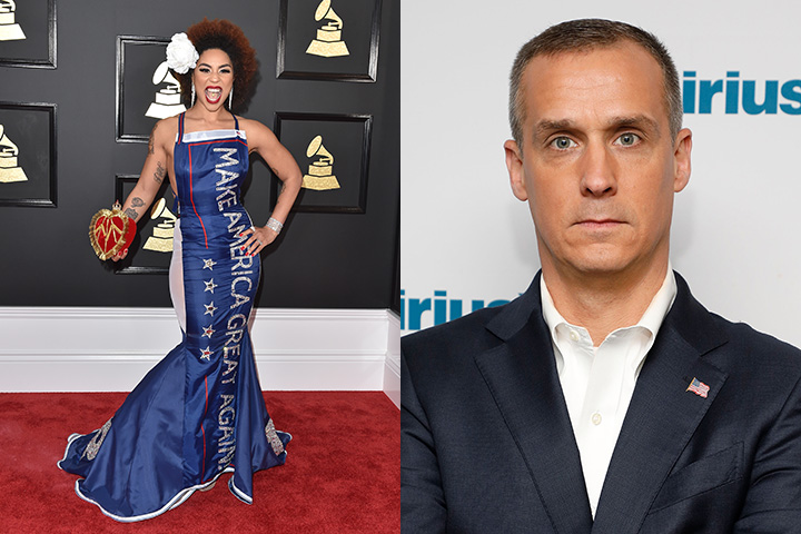 Recording artist Joy Villa and Donald Trump's former campaign manager Corey Lewandowski are pictured in this combination of file photos.