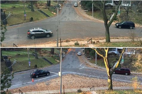 Local residents recently modified the intersection of Regal Road and Springmount Avenue with leaves and chalk.