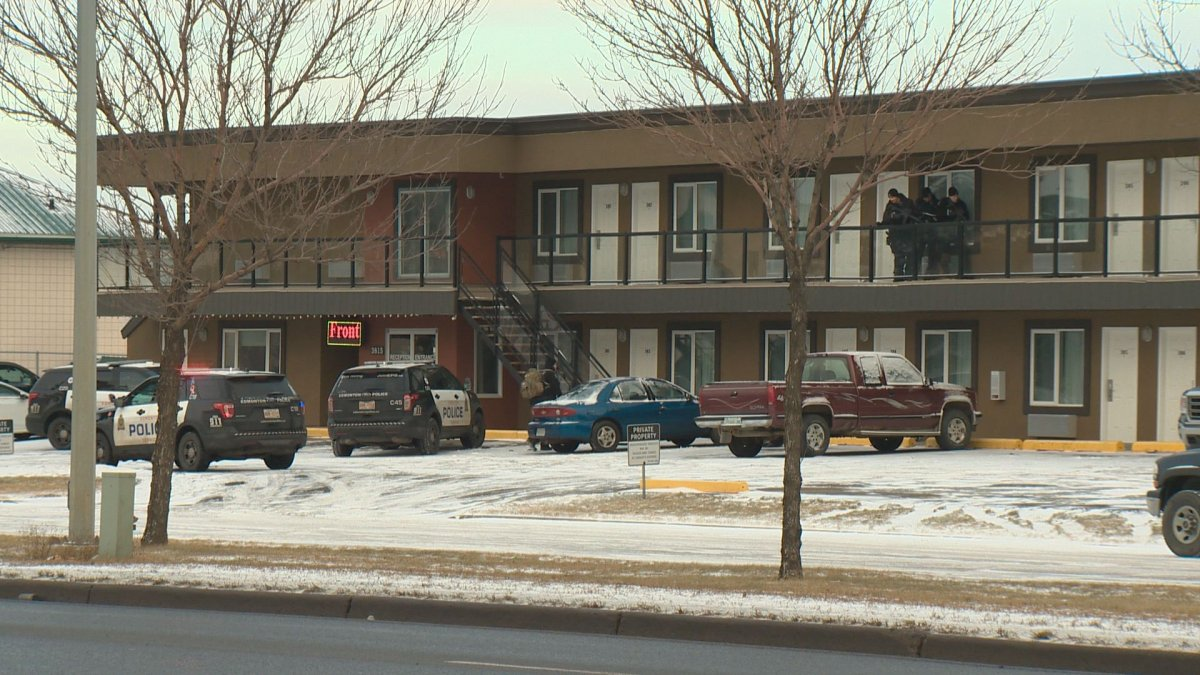 Edmonton police officers were called to the Royal Lodge Motel near Gateway Boulevard and 38 Avenue on Saturday, Dec. 23, 2017.
