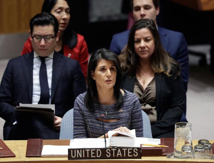 U.S. Ambassador Nikki Haley speaks in favor of a resolution, Friday, Dec. 22, 2017, at United Nations headquarters.