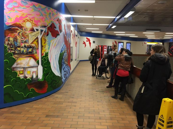 The installation, a tribute to missing Aboriginal women in the city, is one of six murals to be painted in LRT stations across Edmonton.