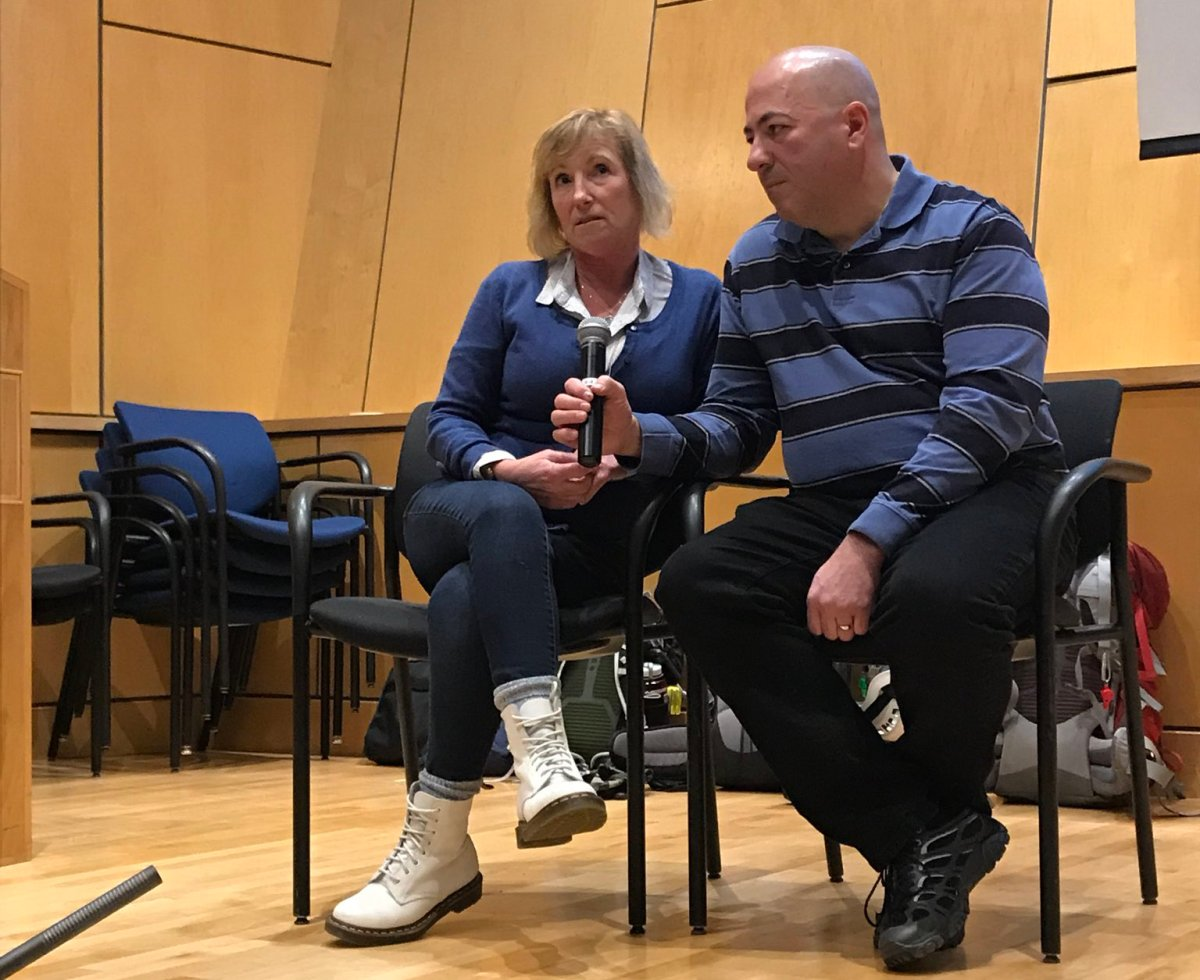 Annette Poitras spoke about her fight for survival alongside her husband at the B.C. Justice Institute Friday night.