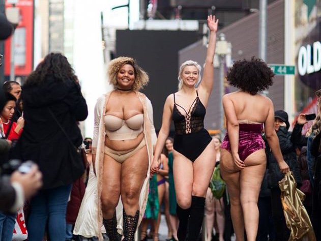 #TheRealCatwalk took place in New York's Times Square and featured women of all sizes in an effort to promote body positivity.