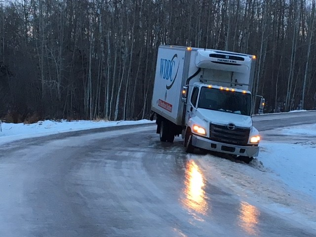 A transport truck in the ditch after losing control on an icy road in Sherwood Park. Overnight rain in the Edmonton region created treacherous conditions on area roads Friday morning.  Friday, December 15, 2017.