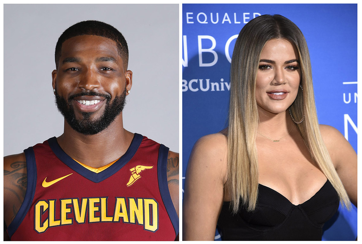 This combination photo shows television personality Khloe Kardashian at the NBCUniversal Network 2017 Upfront at Radio City Music Hall in New York on May 15, 2017, right, and Cleveland Cavaliers' Tristan Thompson at the NBA basketball team media day in Independence, Ohio, on Sept. 25, 2017, left.