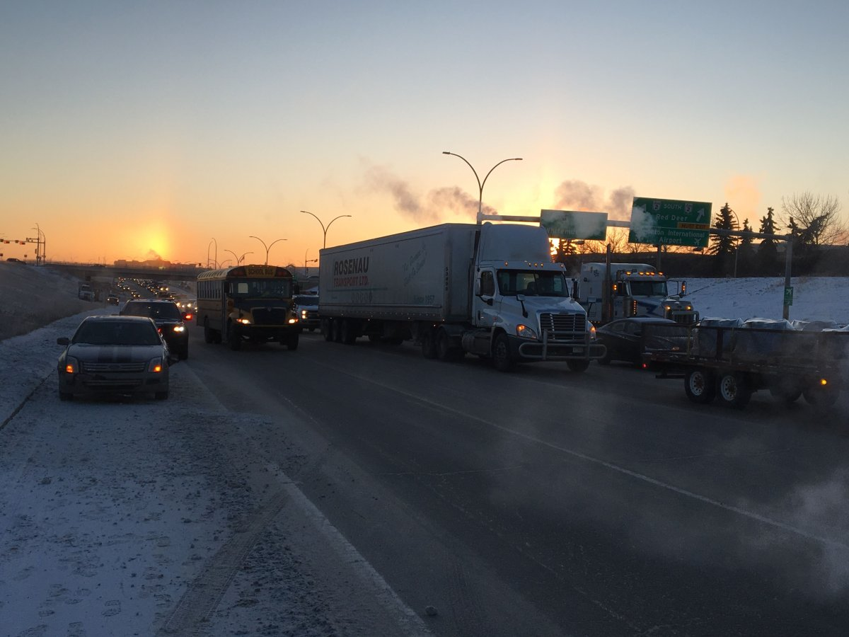 Whitemud Drive was clogged up on Thursday, Jan. 11, 2018.